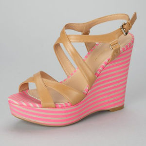 Tommy Hilfiger Pink & Tan Justina Strappy Wedges